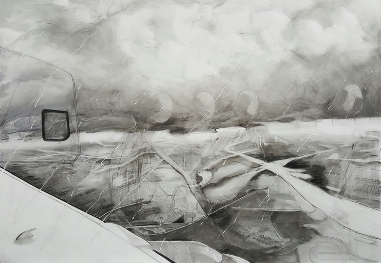 "Landing, 44""x60"", Graphite on synthetic paper"