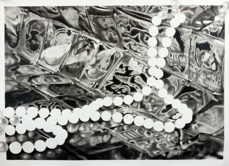 "Exposed, 45""x60"", China marker on synthetic paper"